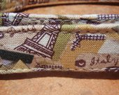 Travel The World - - Retro Fabric Organic Cotton Dog Collar SIZE LARGE - - All Antique Brass Hardware