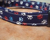 Patriotic Pup - - Retro Navy Blue Red and White Pawprint Organic Cotton Dog Collar SIZE MEDIUM - - All Antique Brass Hardware