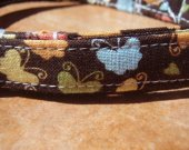 Take Flight- - Retro Vintage Brown Colorful Butterfly Organic Cotton CAT Collar SIZE SMALL BREAKAWAY - - All Antique Brass Hardware
