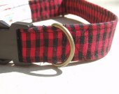 The Lumberjack - - Retro Fabric Organic Cotton Dog Collar SIZE MEDIUM - - All Antique Brass Hardware