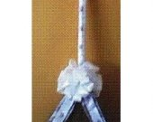 White Ribbon with Shells Jumping Broom