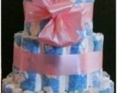 Girl Pink Ribbon Diaper Cake