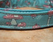 The Wonderland - Whimsical Mushroom Organic Cotton Dog Collar SIZE MEDIUM- - All Antique Brass Hardware