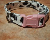 Cow-a-bunga - Organic Cotton Dog Collar Retro Vintage SIZE SMALL - - All Antique Brass Hardware