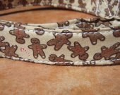 YOU CAN'T CATCH ME Whimsical Gingerbread Man Organic Cotton Dog Collar SIZE MEDIUM - - All Antique Brass Hardware