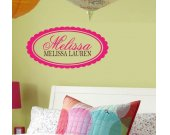OVAL MONOGRAM NAME Vinyl Wall Decal