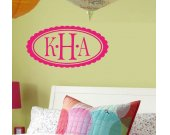 OVAL MONOGRAM INITIAL Vinyl Wall Art
