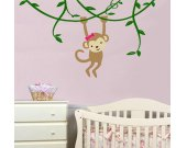 MONKEY WITH VINE Vinyl Wall Decal