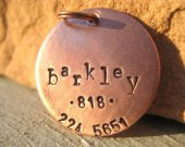 The Barkley - Unique Handstamped Pet ID Tag Copper Dogs Larger