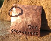 The Poe - Unique Pet ID Tag Copper Square Small Dogs Cats