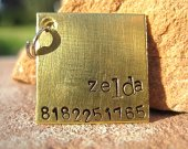 The Zelda - Unique Pet ID Tag Copper Square Small Dogs Cats