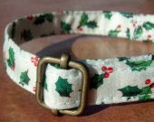 HAPPY HOLLY Whimsical Christmas Organic Cotton Dog Collar SIZE SMALL - - All Antique Brass Hardware