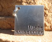 The Lucas - Unique Handstamped Pet ID Tag Aluminum Mini Square Small Dog Cat
