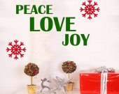 Peace Love Joy WALL DECAL   with FREE snowflakes