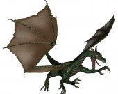 Green Dragon in Flight Vinyl Wall Decal