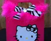 "8 ""Little Diva"" Zebra and Hot Pink Hello Kitty Handmade Custom Birthday Favor Gift Bags!"