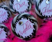 Set of 6 Fabulous Diva Hot Pink and Zebra Custom Personalized Handmade Swirly pop birthday favor