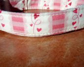 The Love Letter - Organic Cotton Dog Collar LARGE Pink Heart Scalloped - All Antique Brass Hardware
