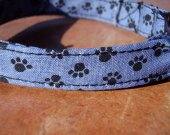 Paw Prince - Organic Cotton CAT Collar Breakaway Safety Blue Pawprints - All Antique Brass Hardware