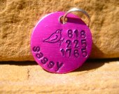 The Sassy - Pink Bird Handstamped Pet ID Tag Small Dog Cat