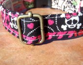 Totally 80s - Organic Cotton Dog Collar LARGE Girly Skulls Roses Hearts - All Antique Brass Hardware