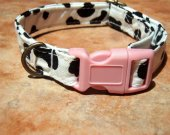 COW-A-BUNGA Organic Cotton Dog Collar Retro Vintage SIZE SMALL - - All Antique Brass Hardware