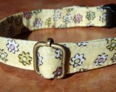 Flower Power - Organic Cotton CAT Collar Breakaway Safety Yellow Flowers - All Antique Brass Hardware