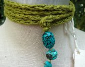 Olive tiny quiet with turquoise