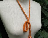 Orange tiny quiet Lariat with Spiral Operculum Shells