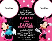 Mickey Minnie Mouse Birthday Party Photo Invitation - DIGITAL FILE ----3 Options (select anyone) ----