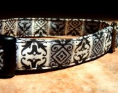 Victorian Grunge - Organic Cotton Dog Collar LARGE Damask Grey Black - All Antique Brass Hardware