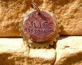 The Jules - Distressed Hammered Steampunk Cogs Copper Brass Unique Handstamped Pet ID Tag Layered 2 Disc Dogs