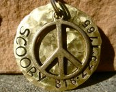 The Scooby - Hammered Distressed Peace Pet ID Tag Dog Brass