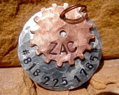The Zac - Distressed Hammered Steampunk Cogs Copper Silver Unique Handstamped Pet ID Tag Layered 2 Disc Dogs