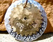 The Orson - Extra Large Heavy Duty Distressed Hammered Steampunk Cogs Silver Gold Unique Handstamped Pet ID Tag Layered 2 Disc Dogs