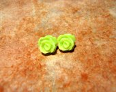 BLUSHING BLOOMS Lime Green Rose Studs Earrings Teeny Tiny  - Nickel Free and Gift Packaged