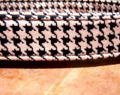 The Fifi - Organic Cotton Dog Collar LARGE Houndstooth Pink Black - All Antique Brass Hardware