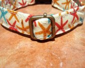 The Beach - Organic Cotton Dog Collar SMALL Yellow Sea Stars - All Antique Brass Hardware