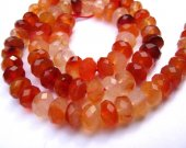 rondelle abacus button faceted natural carnelian loose bead 5x8mm 80pcs full strand