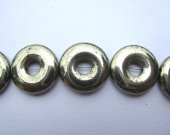 handmade coin disc circle button  donut  golden  nautral pyrite iron bead gemstone 18mm 22pcs full strand