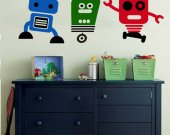 ROBOTS   Set of Three  Vinyl Wall Decals