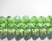 wholesale rondelle abacus button faceted green olive assortment crystal like swarovski bead 5x8mm 72pcs full strand--2strands