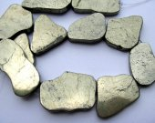 nugget freeform slab flat  golden nautral pyrite iron gemstone 30-50mm 11pcs full strand