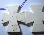 cross handmade carved white original turquoise pendant 70x80mm 8pcs