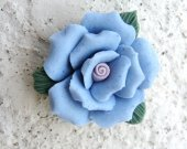 Periwinkle Blue, Pink Porcelain Rose Flower Cabochon with Hole,  23x11mm, THREE