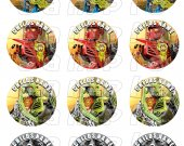 Lego Hero Factory Set of 12 2-.5 Inch Round Personalized Stickers or Cupcake Toppers