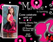 Barbie Silhouette Birthday Photo Invitation You Print Digital File