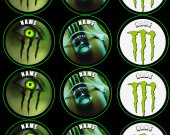 Monster Energy Drink Set of 12 2.5 Inch Round Personalized Stickers or Cupcake Toppers