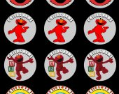 Elmo Set of 12 2.5 Inch Round Personalized Stickers or Cupcake Toppers