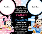 Baby Mickey Mouse and Baby Minnie Mouse Birthday Party Photo Invitation - DIGITAL FILE - card4